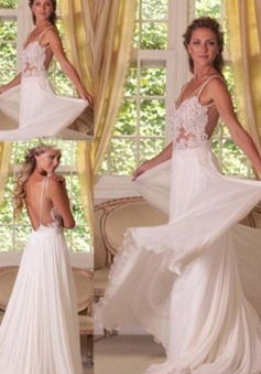 Sexy A-line Lace Applique Long Backless Chiffon Wedding Dress Bridal Gown