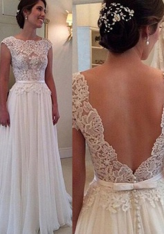Elegant Cowl Backless Long Chiffon Wedding Dress with Lace Top Sash