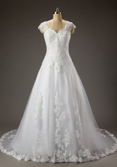 New Arrival A-line Sweetheart Capped Tulle Appliques Wedding Dress
