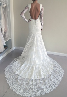 Stunning Jewel Long Illusion Sleeves Court Train Sheath White Wedding Dress with Open Back