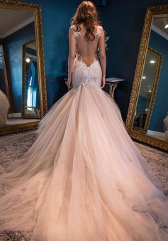 Elegant mermaid sweetheart watteau train backless peach wedding elegant mermaid sweetheart watteau train backless peach wedding dress with white lace backless wisebridal junglespirit Choice Image
