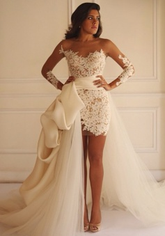 Fabulous Detachable Bateau Sheath Illusion Long Sleeves White Lace Wedding Dress