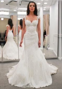 Modern Sweetheart Cap Sleeves Lace Appliques Open Back  Mermaid Wedding Dresses WD-71136