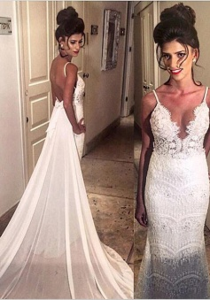 Sexy & Hot V-neck Spaghetti  Beading  Open Back Lace Wedding Dresses  with Court Train