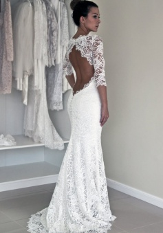 Sexy Mermaid Wedding Dress - White Scoop Half Sleeves Dress with Lace