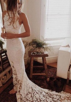 Stunning Jewel Sleeveless Mermaid Lace Wedding Dress with Sweep Train