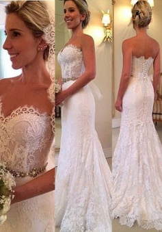 Dramatic Sweetheart Sweep Train Lace Mermaid Wedding Dress Beading Waist