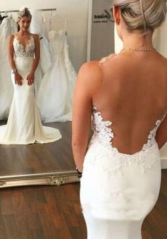 Hot Selling Mermaid Sleeveless Sweep Train Wedding Dress with Lace Illusion Back