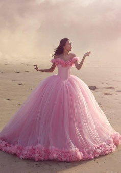 Ball Gown Off-the-Shoulder Pink Tulle Wedding Dress with Flowers