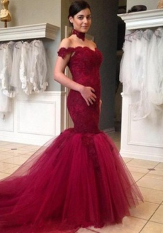 Luxurious Bride Gowns Trumpet High Neck Fuchsia Wedding Dress