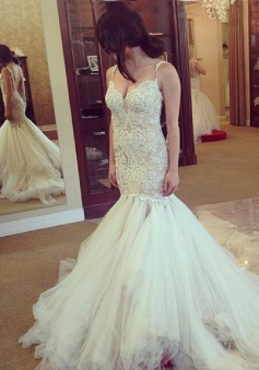 Modern & Sexy V-neck Spaghetti Lace Appliques Mermaid Wedding Dresses Bride Gowns WD-71130