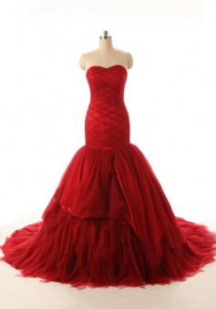 Popular Handmade Long Mermaid Red Wedding Dress