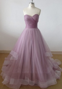 Simple-dress Elegant Strapless A-line Floor-length Long Tulle Ball Dress/Quinceanera Dresses/Wedding Gown  TUPD-70727