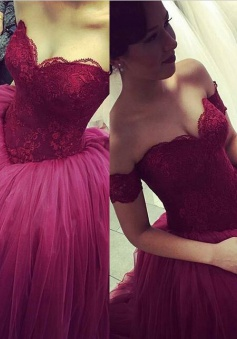 Modern Off The Shoulder Appliques Ball Gown Floor-length Fuchsia Wedding Dresses WD-71128