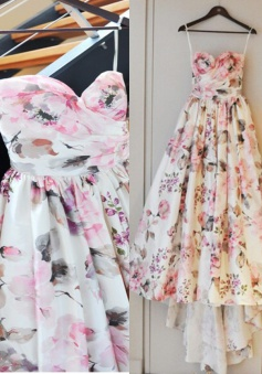 Gorgeous  Sweetheart  Flowers Print Ruffles Bridal Gown/ Wedding Dress