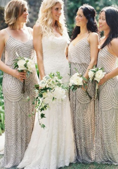 Sheath Spaghetti Straps Sweep Train Sleeveless Grey Sequined Bridesmaid Dress