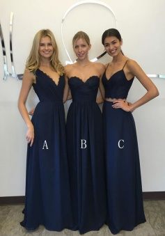 Two Piece Spaghetti Straps Floor-Length Navy Blue Chiffon Bridesmaid Dress