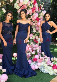 7dc0f247a5d6 8%OFF. Mermaid Halter Open Back Navy Blue Bridesmaid Dress with Lace  Beading.  148.99