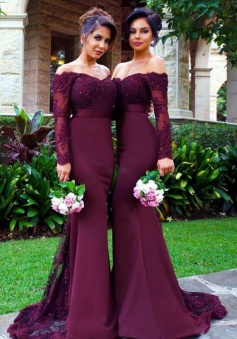 Mermaid Off-the-Shoulder Long Sleeves Sweep Train Burgundy Bridesmaid Dress