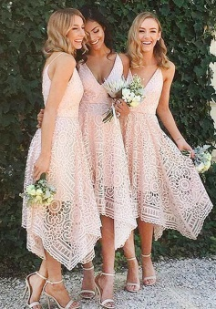 A-Line V-Neck Asymmetrical Pearl Pink Lace Bridesmaid/Homecoming Dress