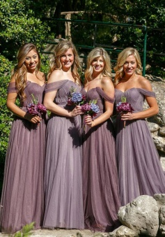 A-Line Off-the-Shoulder Floor-Length Grape Tulle Bridesmaid Dress with Ruched