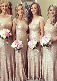 Mermaid Scoop Floor-Length Cap Sleeves Gold Sequined Bridesmaid Dress with Appliques