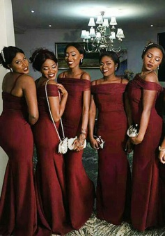Mermaid Off-the-Shoulder Floor-Length Burgundy Stretch Satin Bridesmaid Dress with Ruched