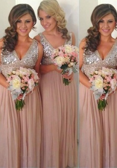 A-Line V-Nack Floor-Length Empire Pink Chiffon Bridesmaid Dress with Sequins