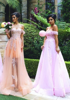A-Lien Off-the Shoulder Sweep Train Sleeveless Orange Tulle Bridesmaid Dress with Appliques