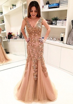 Mermaid V-Neck Sweep Train Champagne Tulle Prom Dress with Appliques