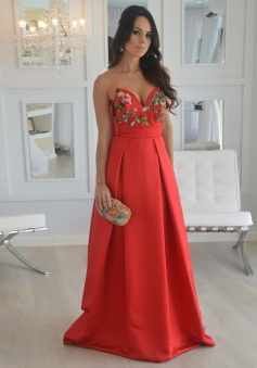 A-Line Sweetheart Long Red Satin Prom Dress with Appliques