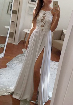 A-Line Scoop Sweep Train Light Grey Prom Dress with Lace Split