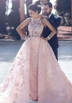 A-Line High Neck Open Back Pink Organza Prom Dress with Appliques