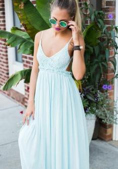 A-Line Spaghetti Straps Backless Mint Green Chiffon Prom Dress with Lace