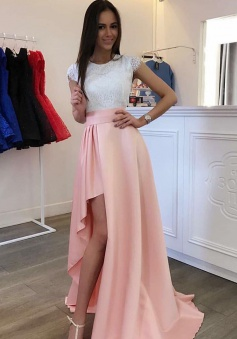A-Line Cap Sleeves Detachable Train Pearl Pink Prom Homecoming Dress with Lace