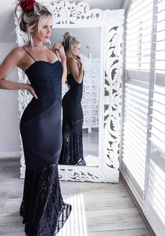 Mermaid Spaghetti Straps Navy Blue Elastic Satin Prom Dress with Lace