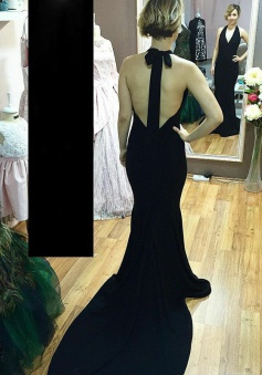 Mermaid Halter Backless Sweep Train Black Elastic Satin Prom Dress