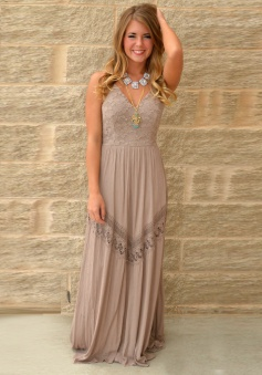A-Line Spaghetti Straps Long Gray Polyester Prom Dress with Lace