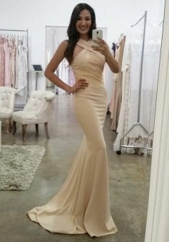 Mermaid Cross Neck Sweep Train Beige Elastic Satin Prom Dress with Lace