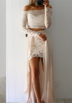 Two Piece High Low Ivory Chiffon Prom Dress with Lace Sleeves
