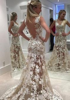 Sheath Scoop Illusion Back Sweep Train White Lace Prom Dress