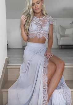 Two Piece Round Neck Light Gray Chiffon Prom Dress with Lace Split