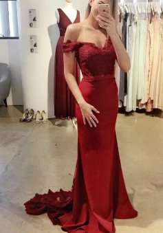 Mermaid Off-the-Shoulder Burgundy Prom Dress with Sash Lace