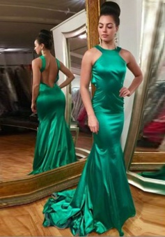 Mermaid Style Jewel Backless Hunter Elastic Satin Prom Dress