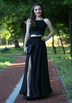 Two Piece Spaghetti Straps Floor-Length Black Prom Dress with Lace Split