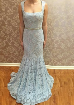 Mermaid Square Neck Sweep Train Blue Lace Prom Dress with Beading