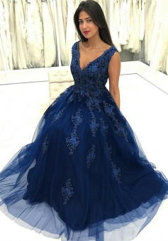 A-Line V-Neck Floor-Length Dark Blue Tulle Prom Dress with Appliques