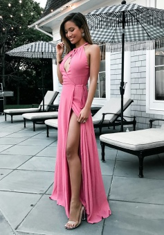 A-Line Round Neck Floor-Length Keyhole Pink Prom Dress with Split