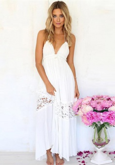 A-Line Halter Backless White Chiffon Prom Dress with Lace