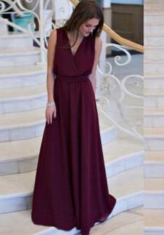 A-Line V-Neck Floor-Length Grape Chiffon Prom Dress with Sash